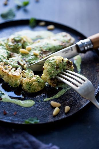 Zaatar Cauliflower Steaks with Green Tahini Sauce