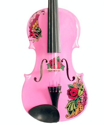Butterfly Rose Tattoo Pink Glitter Violin