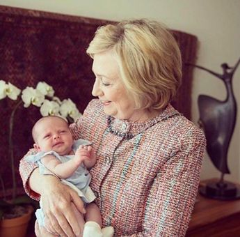 Grandma Hillary with baby Aidan who is now 8 months old - not sure date of photo