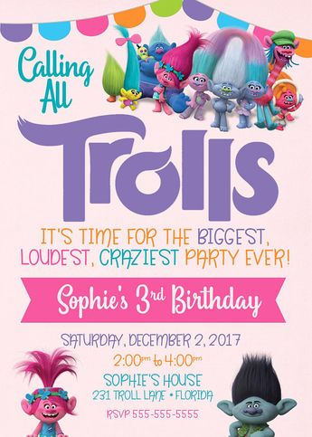 Trolls Invitation Birthday Digital