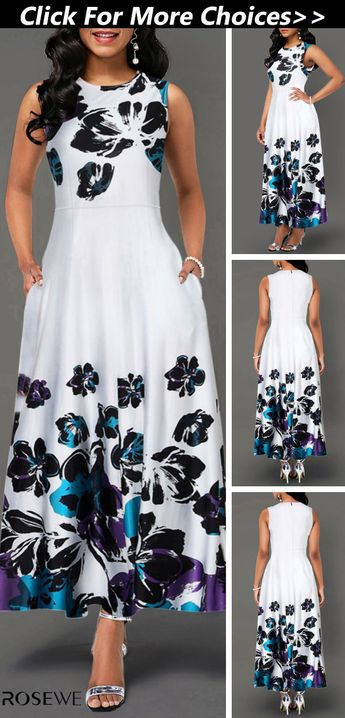 New arrivals are hitting the site just in time to freshen up your wardrobe! Free shipping & 30 days easy return at Rosewe.com. High Waist Flower Floral Summer Spring White Chic Sleeveless Cute Classy Casual Pretty  Print Pocket Dress