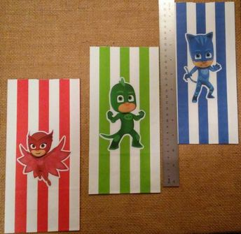 e70bcbc464 P J PJ Masks Mask Striped Party Favor Goodie Candy Treat Bags Owlet Cat Boy  Gecko