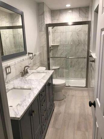 stufurhome Newport 60 in. W x 22 in. D Vanity in Gray with Marble Vanity Top in Carrara White and Mirror