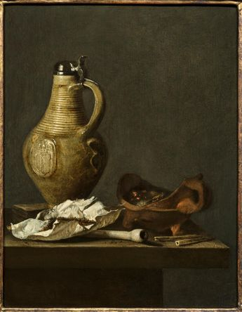 Jan Fris (Amsterdam 1627 - 1672), Still Life with an earthenware Jug, a deck of cards and smoking paraphernalia. Oil on Panel, 38.1 x 29.4 cm. © David Koetser Gallery.