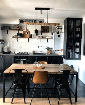 26 Amazing Black White Wood Kitchens Design Ideas