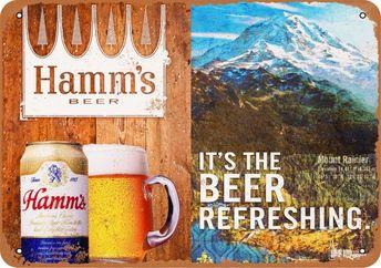Hamm's Beer and Mount Rainier Vintage Look Metal Sign