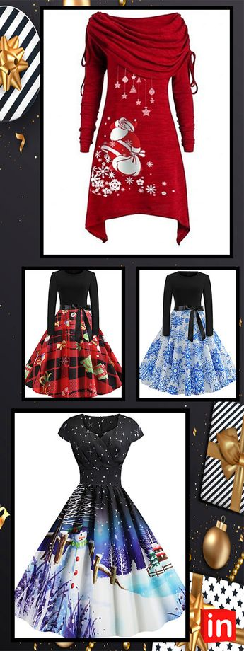 Ladies Christmas Holiday Vintage Basic Swing Dress - Geometric, Patchwork Print Red