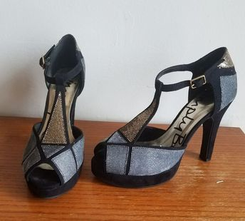 0cd31da40f3 Simply Be 5e Wide Black Suede T-Strap Platform Pumps Gold and Silver  Accents