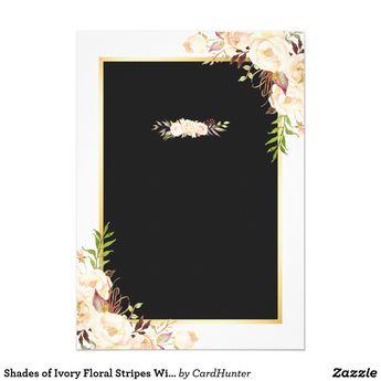 Shades of Ivory Floral Stripes Winter Wedding Invitation | Zazzle.com