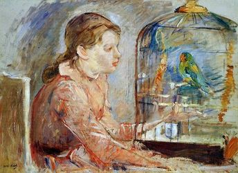 Young Girl and the Budgie by Berthe Morisot - Hand Painted Oil Painting