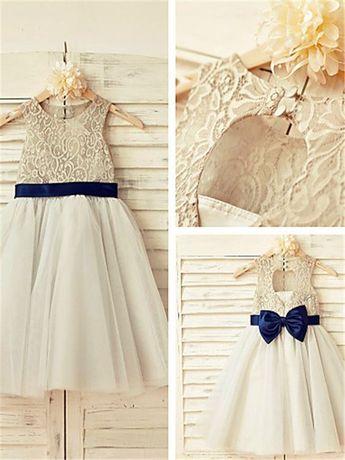 A-line/Princess Scoop Sleeveless Lace Tea-Length Tulle Flower Girl Dresses