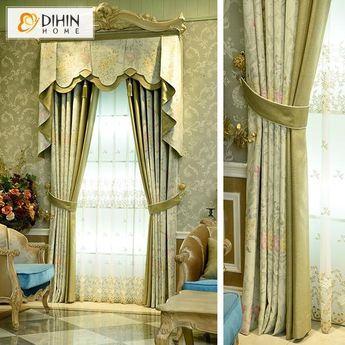 DIHIN HOME Yellow and Red Flowers Printed,Blackout Curtains Grommet Window Curtain for Living Room ,52x84-inch,1 Panel