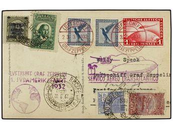 ZEPPELIN. 1932 (23 marzo). BRAZIL. Tarjeta franqueada a bordo del GRAF ZEPPELIN con sellos alemanes de 20 pf. (2) y 1 Mk. a la llegada franqueada con sellos de Brasil de 400, 500, 1000 y 2000 reis. Marca del vuelo y llegada. (Sieger 138, 139).    Dealer  SOLER Y LLACH    Auction  Minimum Bid:  100.00EUR