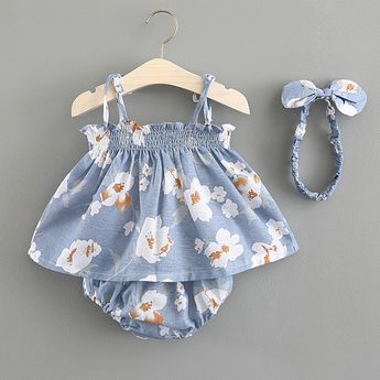 3-piece Floral Print Sleeveless Dress Shorts and Headband for Baby Girls