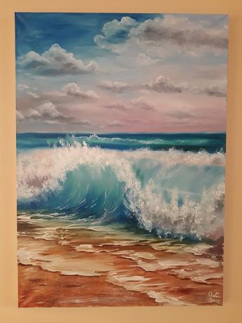 "Original Oil Painting,Seascape 27.5""x19.8"" Gift for him, Beach Art, Marine Art"