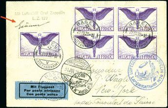 1929-36, Graf Zeppelin & Hindenburg Flights, great group of 15 diff. items, mostly airmail frankings, some unusual e.g. Egypt Flight, please examine, nearly premium items and very fine showpieces (Sieger 27A, 35B, 37A, 46, 57 I, 104, 122, 166, 183, 222A, 232, 238B, 246, 286, 406) (Est. € 900/1200) (15)  Dealer David Feldman S. A. Geneva  Auction Minimum Bid: 900.00EUR
