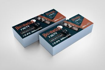 Halloween Party Event Ticket Design Template - Graphic Templates