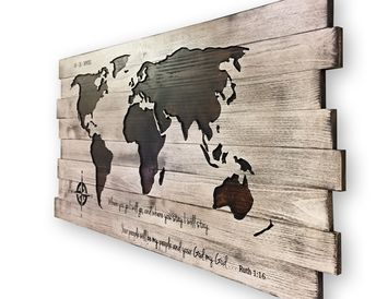 World Map Art, Pallet Style Map, Handmade, Large map of World, Carved, 3D Wall Art, Wood Wall Art, Customize Text, Vintage, Print, Canvas