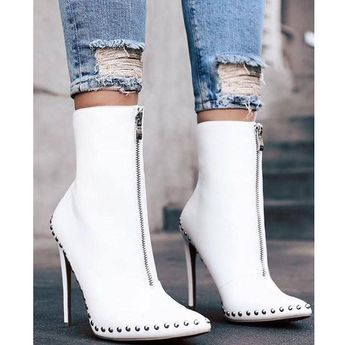 Ladies Boots Punk Style Rivet Pointed Toe Short Boots #highheelssandals