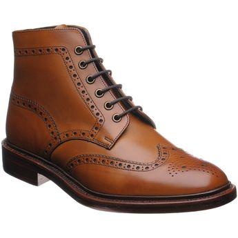 Herring Burgh brogue boots in tan burnished calf