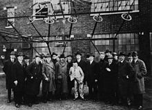 Tesla (9th from left), along with some of the greatest scientists at that time, including Albert Einstein (8th from left), taking an inspection tour of the New Brunswick Marconi Station. Circa 1921