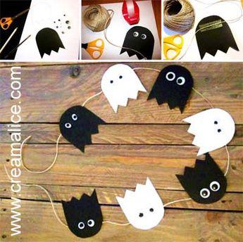 {DiY} Guirlande fantômes pour la déco d'Halloween