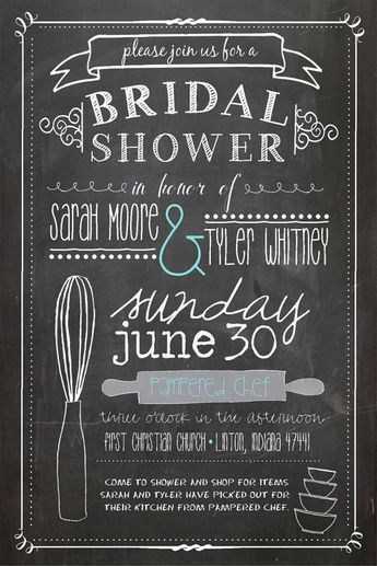 List of pinterest pampered chef party invitations the bride pictures kitchen themed bridal shower invitation chalkboard style pampered chef no 22 via filmwisefo