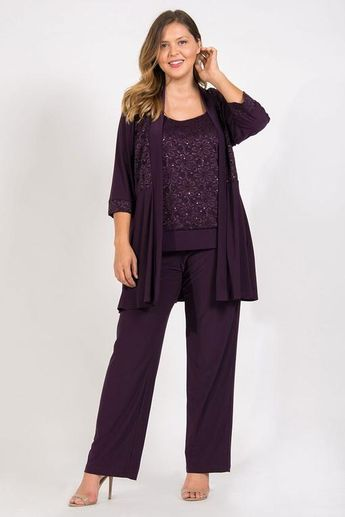 R&M Richards Mother of the Bride Formal Plus Size Pant Suit - The Dress Outlet