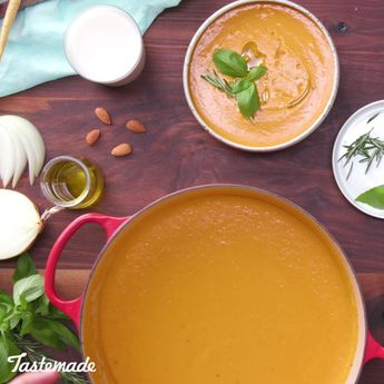 This rich and creamy Almond Milk Roasted Carrot Soup is full of flavor.