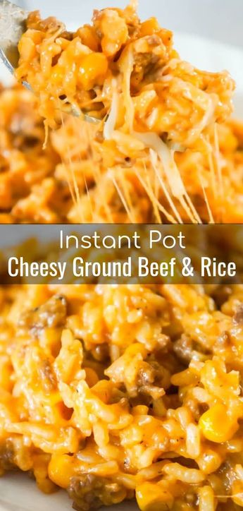 Instant Pot Cheesy Ground Beef and Rice is an easy dinner recipe perfect for weeknights. This Instant Pot rice dish is loaded with ground beef, corn, mozzarella and cheddar cheese.