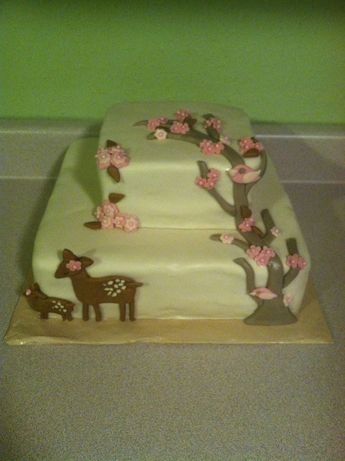 Deer and fawn baby shower cake