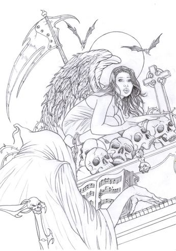 Death By Raffa3le Angel Fantasy Myth Mythical Legend Wings Warrior Valkyrie Anjos Goth Gothic Coloring Pages
