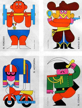 Circus characters by Cruz Novillo + Olmos. Found here. More here and here.