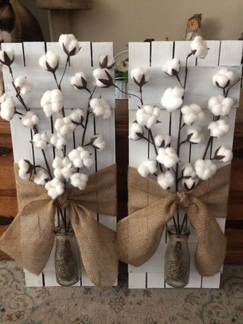 I made these from 99c store wood signs and dollar tree milk bottles and cotton stems