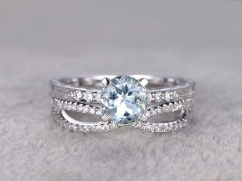 Aquamarine Bridal Ring Set Diamond Wedding Band White Gold Infinity Curved Stacking Matching 14k/18k