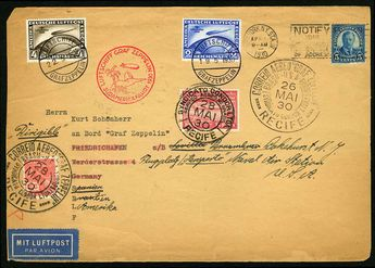 German Empire 1930 (4 Apr) large cover originating in New York, with 5c franking, used in combination with Germany South America Flight 2M and 4M, cancelled on board (19 May), with Seville drop cancel on back, forwarded to Brazil, where additional franking was added for the trip back to USA, some faults, otherwise a fine three-country combination cover  Dealer Cherrystone Auction  Auction Estimate price: 450.00US$