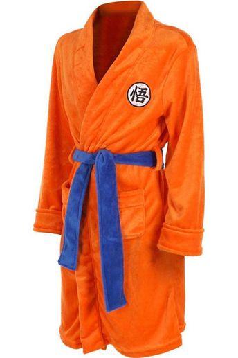 Mens Bathrobe Dragon Ball Son Goku Outfit Pattern Plush Robe For Adults Orange