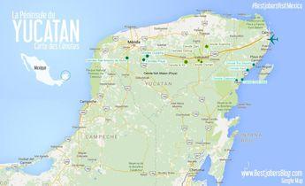 Carte des cénotes de la Péninsule du Yucatan, Mexique