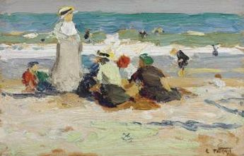 At the Beach by Edward Henry Potthast   Blouin Art Sales Index