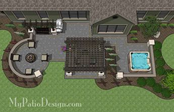Turn your backyard into a paradise you will never want to leave with our Relaxing Outdoor Living Design with Pergola, Fire Pit and Hot Tub. Installation plan.