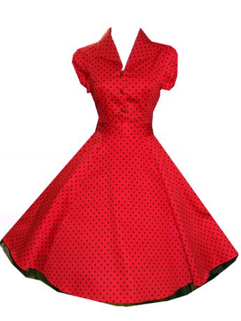 Details about Ladies 40's 50's Vintage Style Red Polka Dot Classic Jive Shirt Dress New 8 - 26