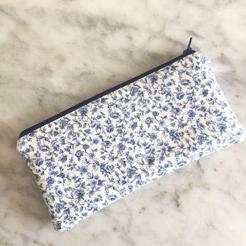 Blue and White Floral Zipper Pouch- Floral Zipper Pouch- Make up Bag- Zipper 81c43b9b2a27d