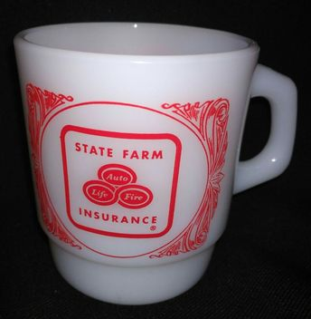 $9.96 or best offer State Farm Insurance Cup Anchor Hocking Mug Fire King Milk Glass #coffee #vintage #collectibles