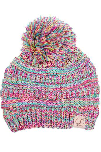 f5e641c3b73a9 C.C. Beanie Marled Cable Knit Beanie with Pompom for Kids in Candy YJ816- KIDS-