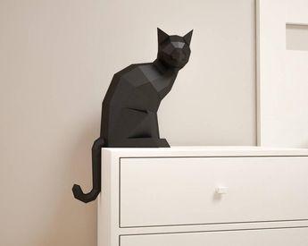 3D Paper craft Cat, DIY sculpture sitting cat, Papercrafting, Low Poly animals pet, paper model, 3D