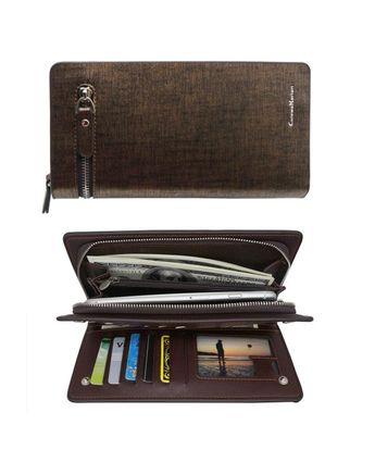 Men's Wallets Large Capacity Bifold Long Wallet Card Holder Male Clutch Bag - Gold - C6189K24SRI