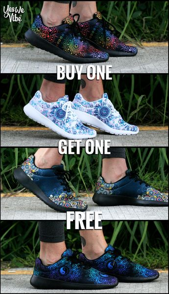 Feel like you're walking on clouds while spreading good vibes with these unique handmade sneakers!  Order 1 Pair Get 1 FREE! - Limited Time Only