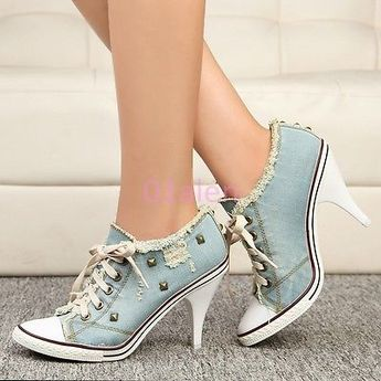 New Womens High Heel Rivet Denim Canvas Lace Up Boots Sneakers Party Shoes 4-9.5