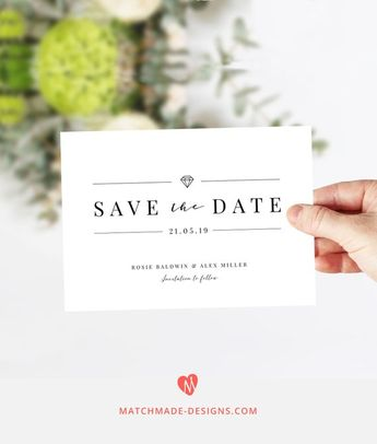 save the date template succulent save the date calligraph
