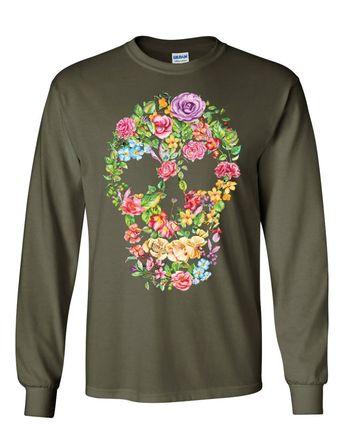 65f1cd1e Flower Skull Long Sleeve T-Shirt Sugar Skull Calavera Dia de los Muertos Tee